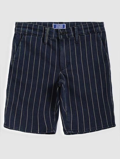 Boys Blue Striped Denim Shorts