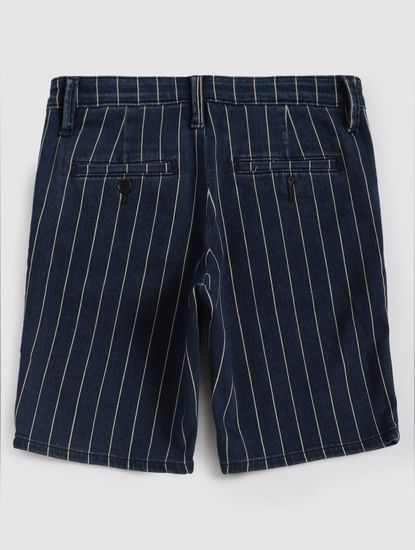 Junior Blue Striped Denim Shorts