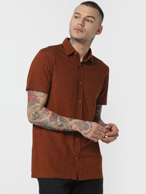 Dark Brown All Over Print Short Sleeves Shirt