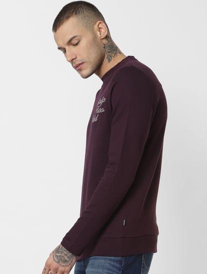 Dark Purple Text Print Sweatshirt
