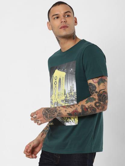 Green Brooklyn Bridge Graphic Crew Neck T-Shirt