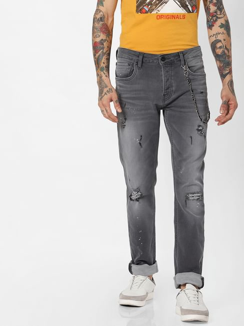 Jack & Jones Grey Indigo Knit Ripped Tim Slim Fit Jeans