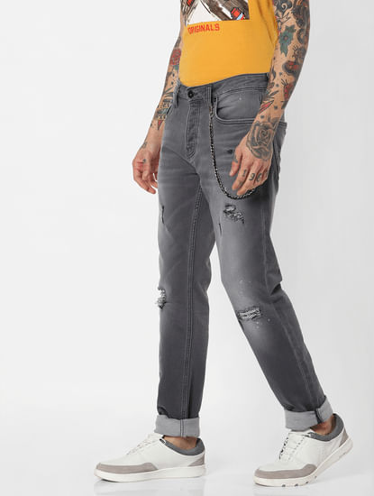Jack & Jones Grey Indigo Knit Ripped Tim Slim Fit Jeans