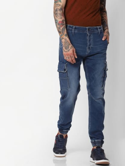 Jack & Jones Blue High Rise Indigo Knit Paul Anti Fit Jeans