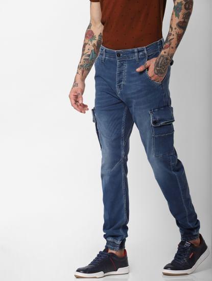 Jack & Jones Blue High Rise Indigo Knit Paul Anti Fit Jeans