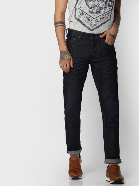 "Dark Blue ""Aqua Safe"" Glenn Slim Fit Jeans"