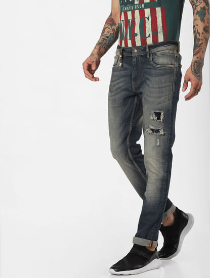 Blue Low Rise Ripped Skinny Jeans