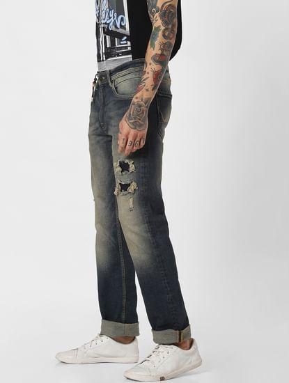 Blue Ripped Clark Slim Jeans