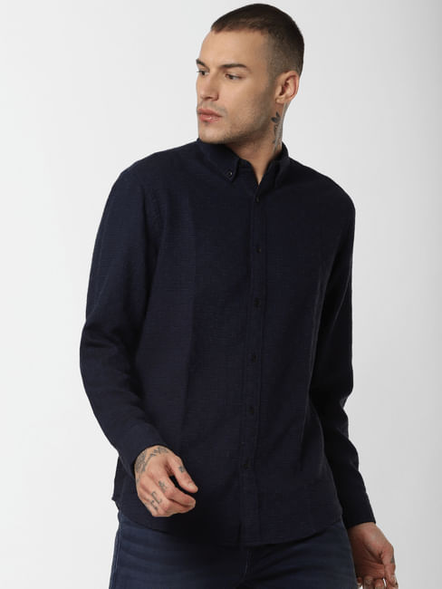 Navy Blue Textured Full Sleeves Shirt