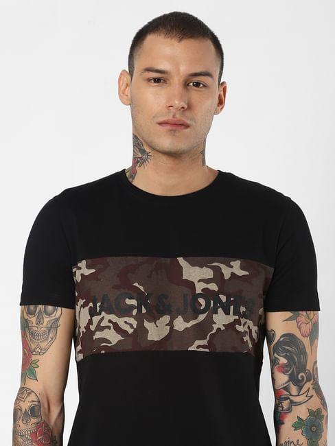 Black Camo Print Crew Neck T-Shirt