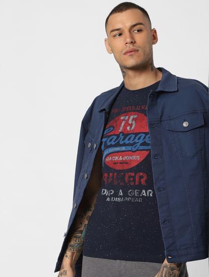 Navy Blue Typographic Print Crew Neck T-Shirt