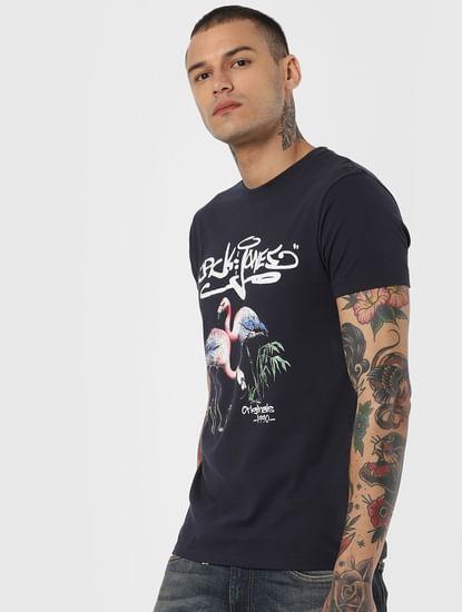 Navy Blue Flamingo Print Crew Neck T-Shirt
