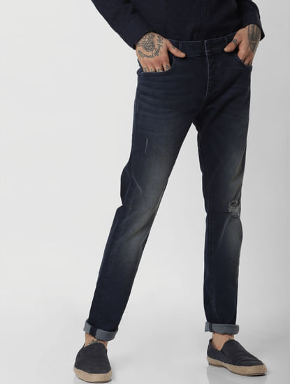 Blue Low Rise Ripped Glenn Slim Fit Jeans