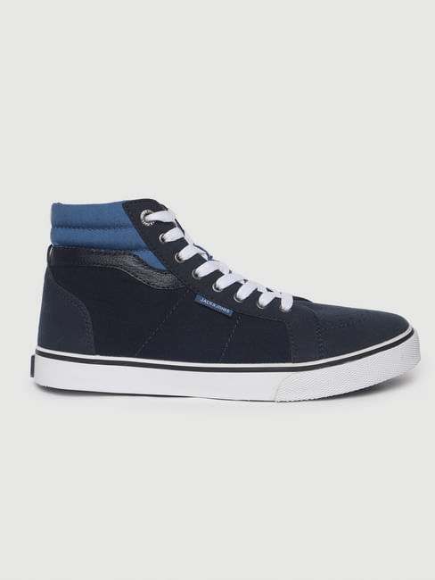 Navy Blue High-Top Sneakers