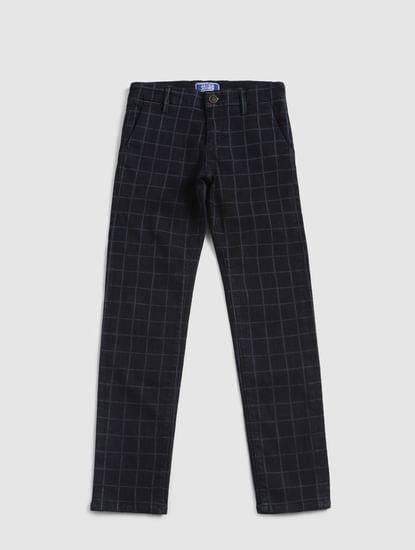 Junior Dark Blue Check Tim Slim Fit Jeans