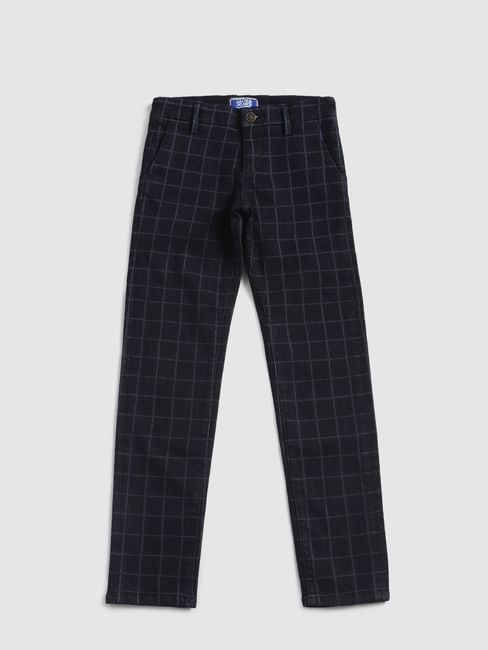 Junior Dark Blue Check Tim Slim Fit Jeans