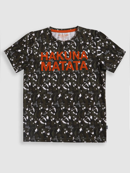Junior X Lion King Green Hakuna Matata Crew Neck T-Shirt