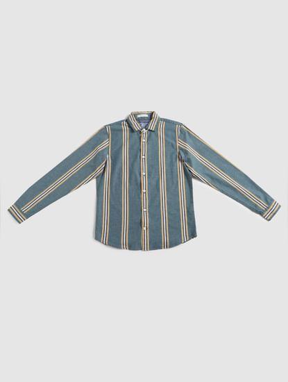 Junior Green Striped Full Sleeves Shirt