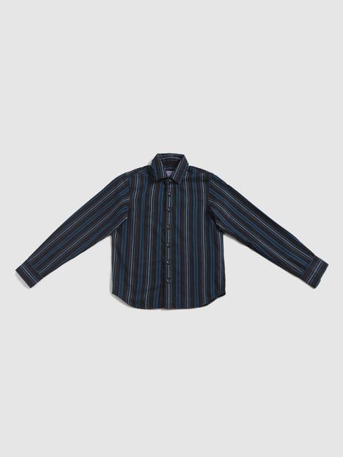 Junior Blue Striped Full Sleeves Shirt