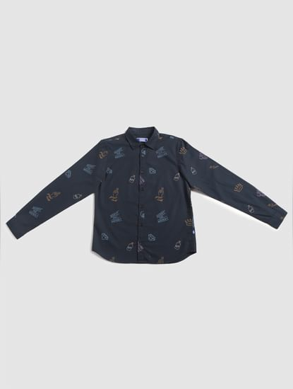Junior Blue All Over Print Full Sleeves Shirt