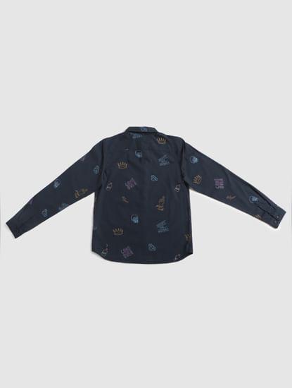 Junior Blue All Over Print Full Sleeves Shirt