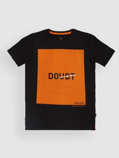 Junior Black Text Print Crew Neck T-Shirt