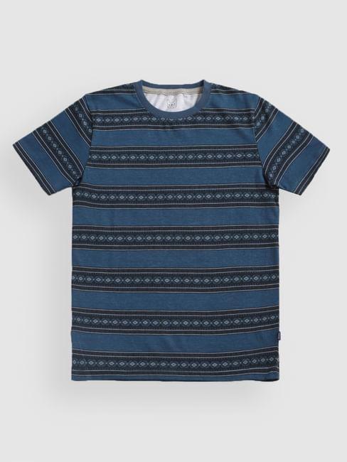 Boys Blue Striped Crew Neck T-Shirt