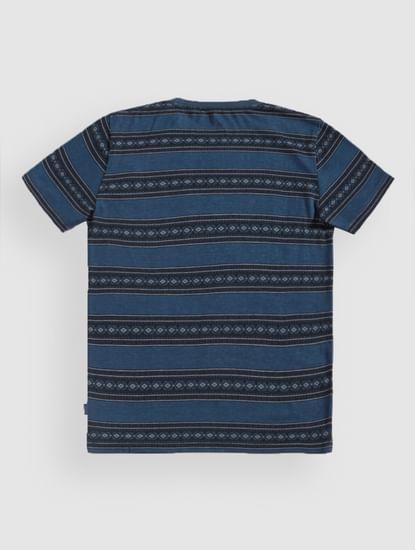 Junior Blue Striped Crew Neck T-Shirt