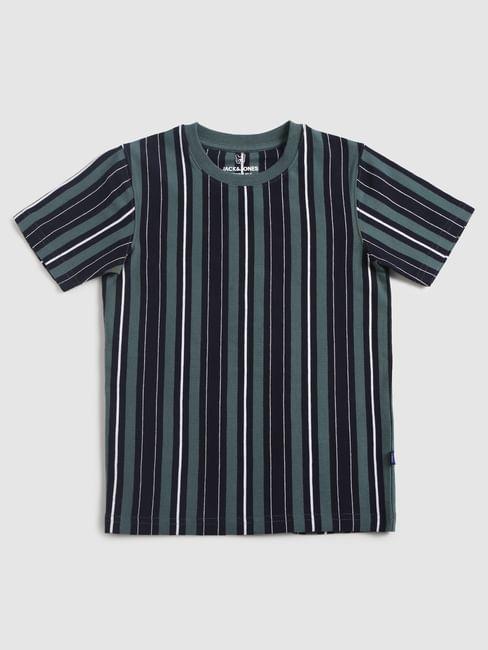 Junior Green Striped Crew Neck T-Shirt