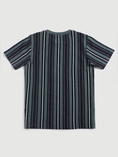 Junior Green Striped Crew Neck T-Shirt