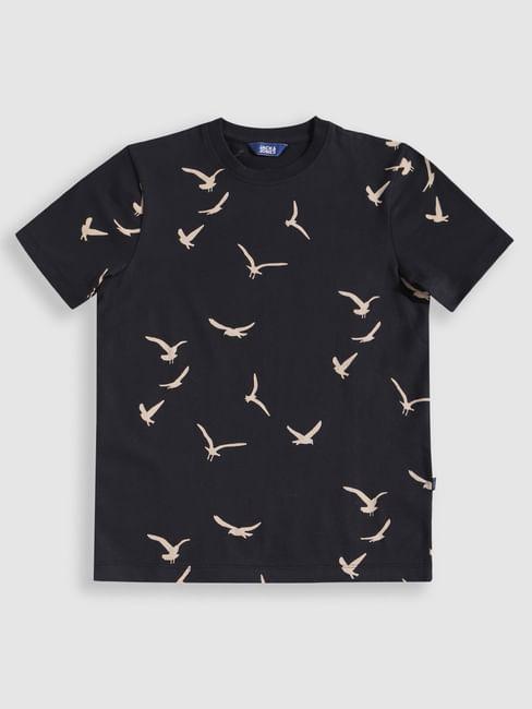 Junior Navy Blue Bird Print Crew Neck T-Shirt