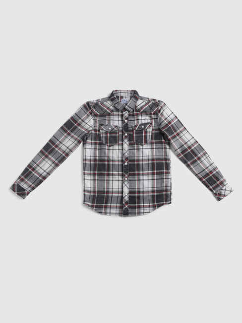 Junior Grey Check Full Sleeves Shirt
