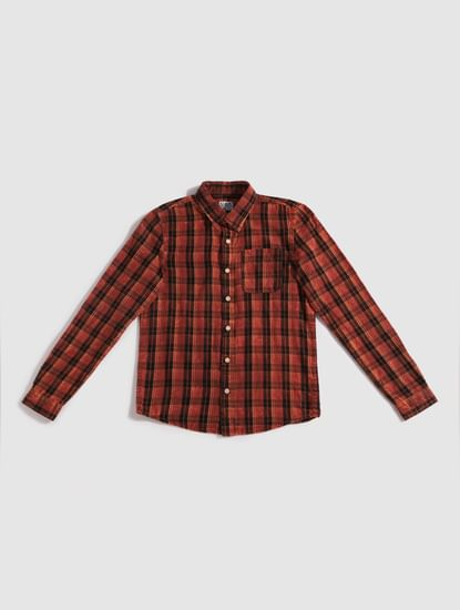 Junior Red Check Full Sleeves Shirt