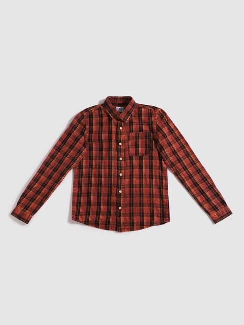Junior Red Check Full Sleeves Shirt