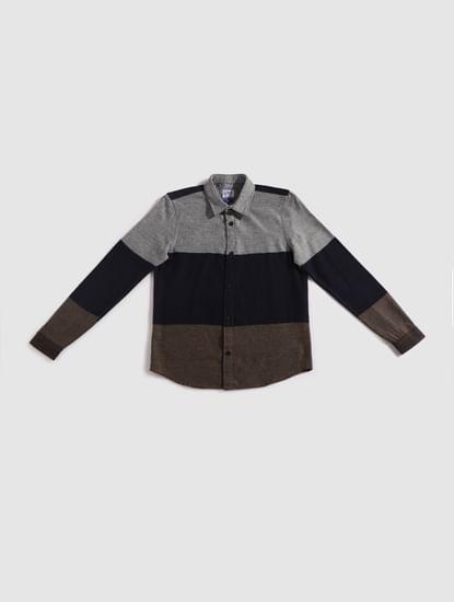 Junior Brown Colourblocked Full Sleeves Shirt