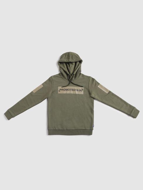 Boys Green Hooded Sweatshirt
