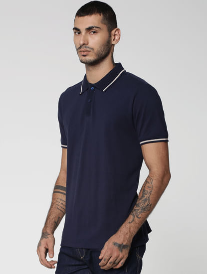 Blue Tipping Jacquard Polo Neck T-shirt