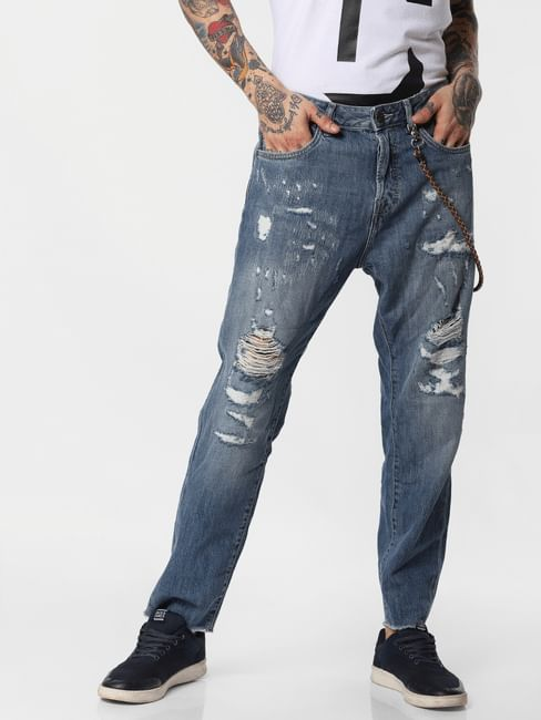 Blue Ripped Fred Anti Fit Jeans