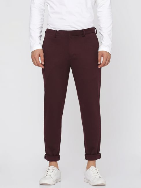 Burgundy Tailored Slim Fit Trousers