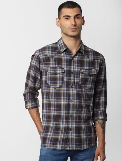 Brown Check  Full Sleeves Shirt
