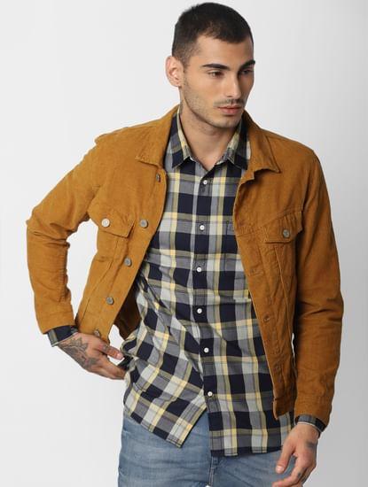 Yellow Check Full Sleeves Shirt