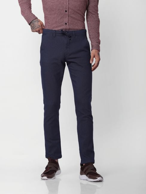 Navy Blue Mid Rise Slim Fit Pants
