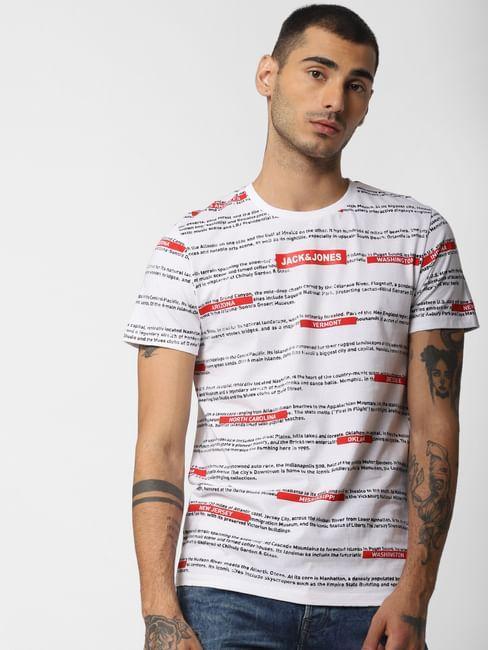 White All Over Print Crew Neck T-shirt