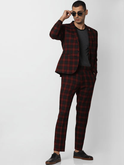 Red Check Slim Fit Trousers