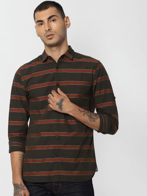 Dark Green Striped Full Sleeves Shirt