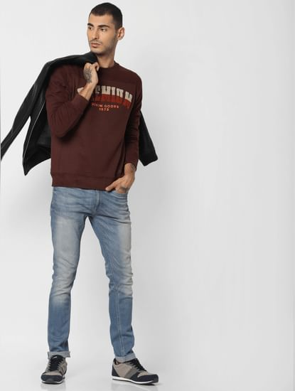 Burgundy Text Print Sweatshirt