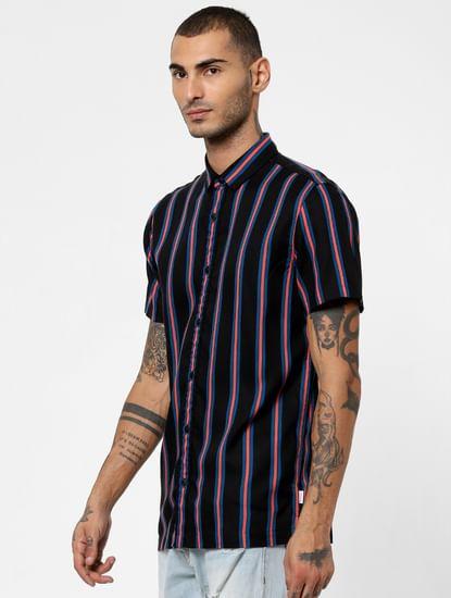 Black Striped Short Sleeves Shirt