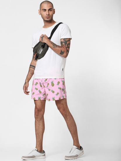 Pink All Over Print Swimshorts