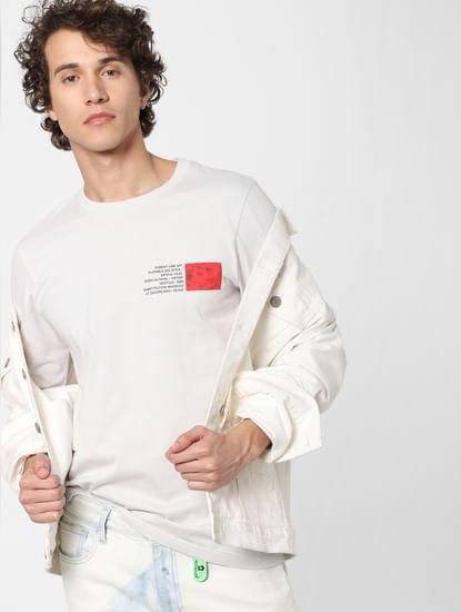 Off-White Text Print Crew Neck T-shirt