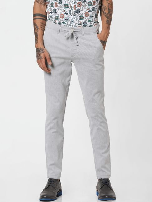 Grey Low Rise Textured Pants